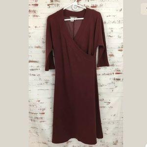 isabella bird Dresses - Isabella Bird Sweater Dress Faux Wrap Maroon